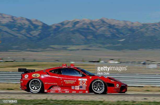 Gianmaria Bruni of Italy drives the Risi Competizione Ferrari 430 GT during practice for the American Le Mans Series Larry H Miller Dealerships Utah...