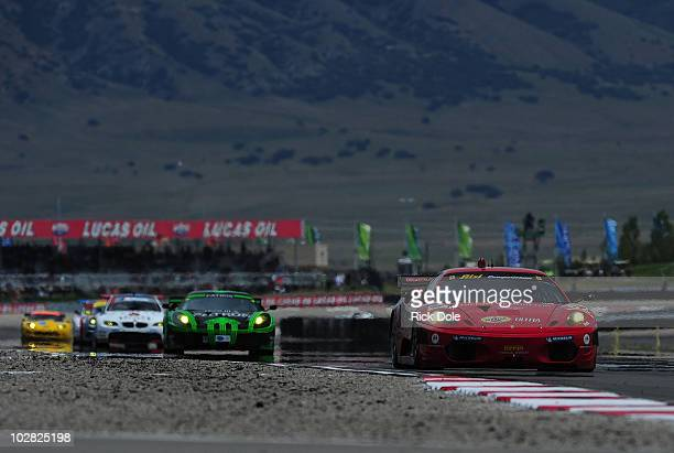 Gianmaria Bruni of Italy drives the Risi Competizione Ferrari 430 GT during the American Le Mans Series Larry H Miller Dealerships Utah Grand Prix at...