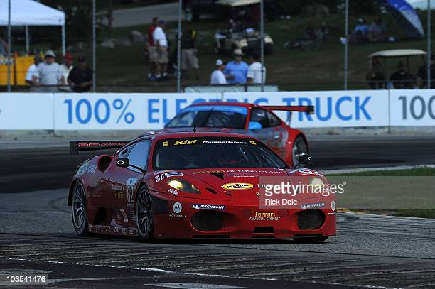 Gianmaria Bruni of Italy drives the Risi Competizione Ferrari 430 GT during the American Le Mans Series Powered by eStar at Road America on August 22...