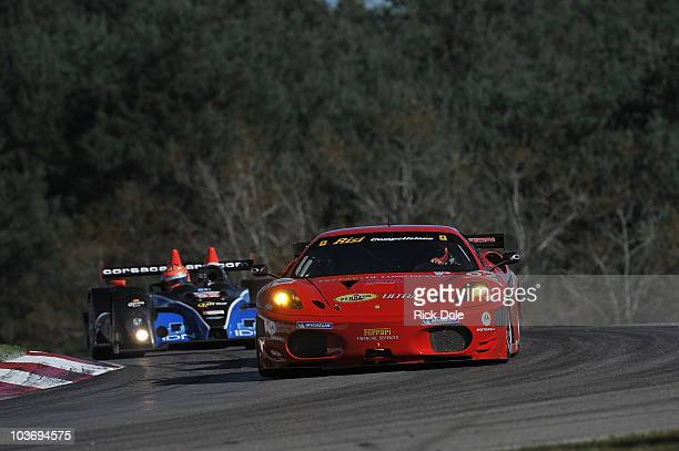 Gianmaria Bruni of Italy drives the Risi Competizione Ferrari 430 GT during practice for the American Le Mans Series Grand Prix of Mosport at Mosport...