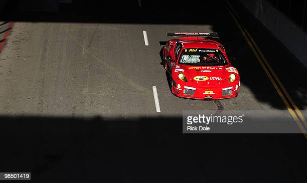 Gianmaria Bruni of Italy drives the Risi Competizione Ferrari 430 GT during the Tequila Patron American Le Mans Series at the Toyota Grand Prix on...