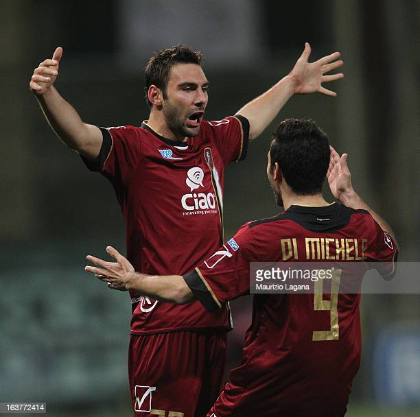 Gianmario Comi of Reggina Calcio celebrates after scoring the opening goal during the Serie B match between Reggina Calcio and AC Cesena at Stadio...