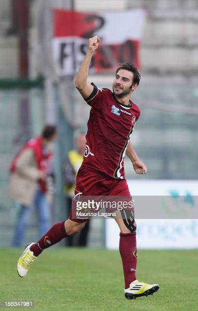 Gianmario Comi of Reggina celebrates after scoring his team's opening goal during the Serie B match between Reggina Calcio and AS Varese at Stadio...