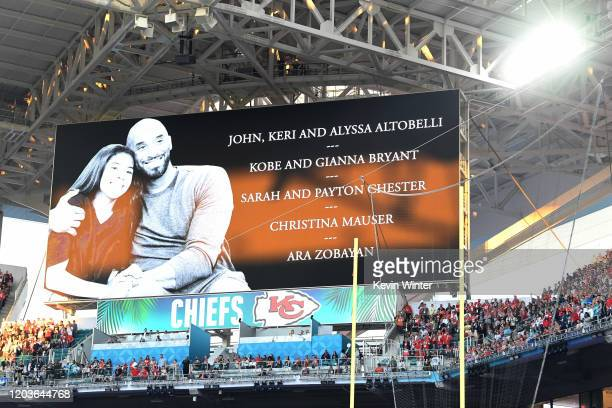 Gianna and Kobe Bryant tribute is seen during the Super Bowl LIV Pregame at Hard Rock Stadium on February 02 2020 in Miami Gardens Florida