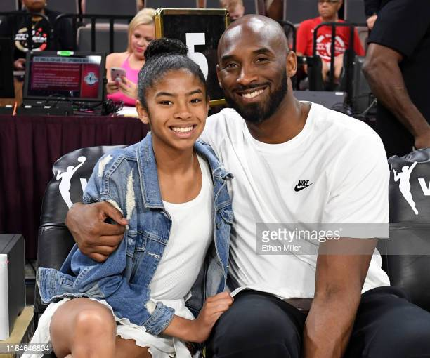 Gianna Bryant and her father former NBA player Kobe Bryant attend the WNBA AllStar Game 2019 at the Mandalay Bay Events Center on July 27 2019 in Las...