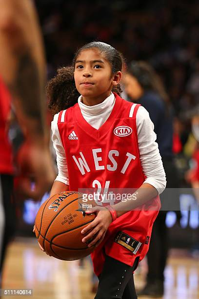 Gianna Bryant, daughter of Kobe Bryant of the Los Angeles Lakers and the Western Conference, handles the ball during warm ups before the NBA All-Star...