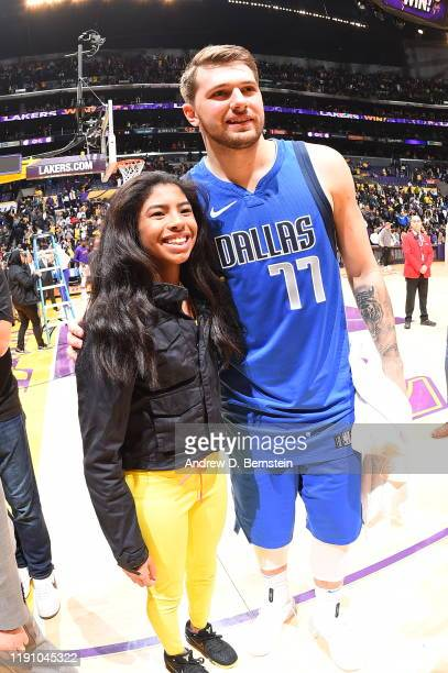 Gianna Bryant poses for a photo with Luka Doncic of the Dallas Mavericks after the game against the Los Angeles Lakers on December 29 2019 at STAPLES...