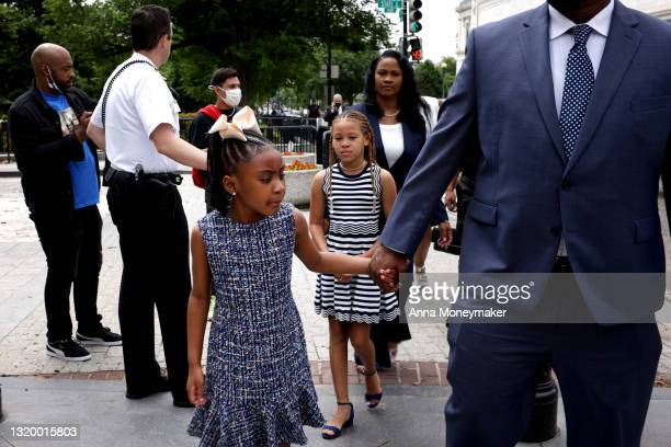 Gianna Floyd, George Floyd's daughter, arrives to the White House on May 25th, 2021 in Washington, DC. George Floyd's family are having a meeting...