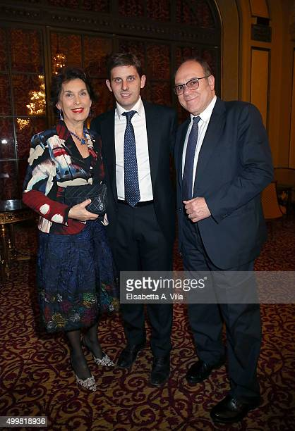 Gianna Scarpelli, Paolo Verdone and Carlo Verdone attend the Pink Tie Ball Cocktail on December 3, 2015 in Rome, Italy.