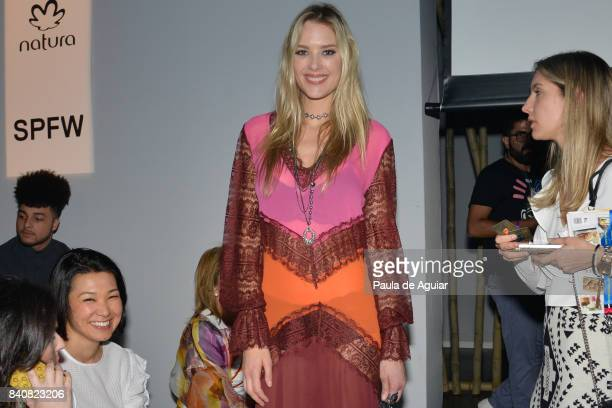 Gianne Albertoni attends Agua de Coco Front Row SPFW N44 Winter 2018 at Ibirapuera's Bienal Pavilion on August 29 2017 in Sao Paulo Brazil