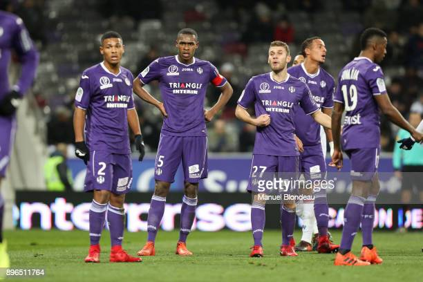 Giannelli Imbula Issa Diop and Alexis Blin of Toulouse during the Ligue 1 match between Toulouse and Olympique Lyonnais at Stadium Municipal on...