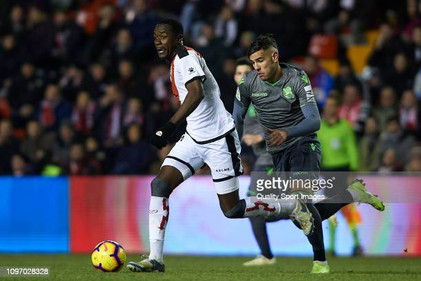 Giannelli Imbula of Rayo Vallecano competes for the ball with Theo Hernandez of Real Sociedad during the La Liga match between Rayo Vallecano de...