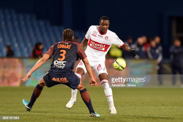 Giannelli Imbula of Toulouse and Daniel Congre of Montpellier during the Ligue 1 match between Montpellier and Toulouse at Stade de la Mosson on...