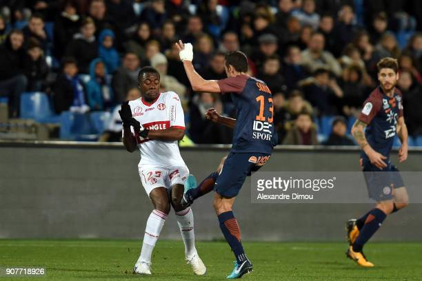 Giannelli IMBULA of Toulouse and Ellyes Skhiri of Montpellier during the Ligue 1 match between Montpellier and Toulouse at Stade de la Mosson on...
