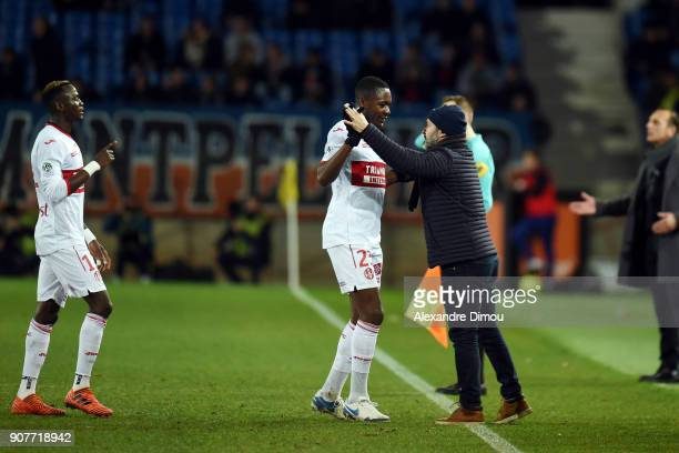 Giannelli IMBULA of Toulouse celebrates his Goal with Coach Pascal Dupraz during the Ligue 1 match between Montpellier and Toulouse at Stade de la...