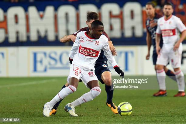Giannelli Imbula of Toulouse during the Ligue 1 match between Montpellier and Toulouse at Stade de la Mosson on January 20 2018 in Montpellier France
