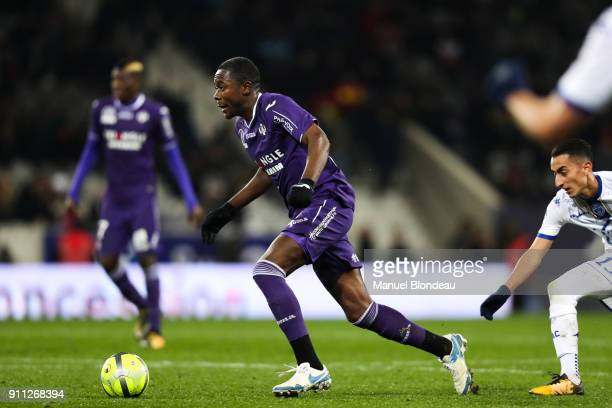 Giannelli Imbula of Toulouse during the Ligue 1 match between Toulouse and Troyes at Stadium Municipal on January 27 2018 in Toulouse