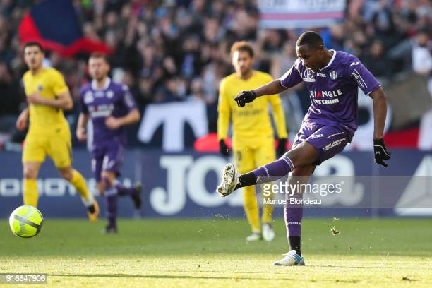 Giannelli Imbula of Toulouse during the Ligue 1 match between Toulouse and Paris Saint Germain at Stadium Municipal on February 10 2018 in Toulouse