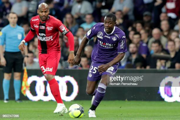 Giannelli Imbula of Toulouse in action during the Ligue 1 match between Toulouse and EA Guingamp at Stadium Municipal on May 19 2018 in Toulouse