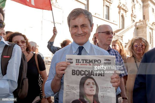 Gianni Alemmano former mayor of Rome attends a demonstration consisting of citizens' committees and Forza Italia against the administration of mayor...