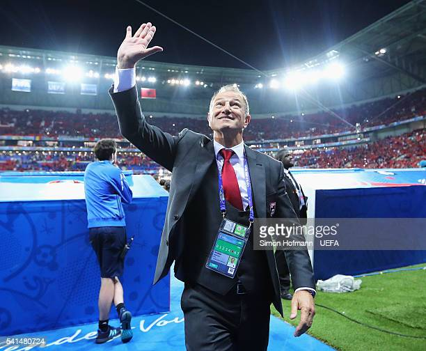 Gianni De Biasi coach of Albania celebrates after the UEFA EURO 2016 Group A match between Romania and Albania at Stade des Lumieres on June 19 2016...