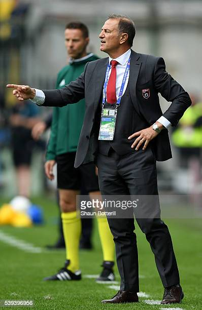 Gianni De Biasi coach of Albania gestures during the UEFA EURO 2016 Group A match between Albania and Switzerland at Stade BollaertDelelis on June 11...