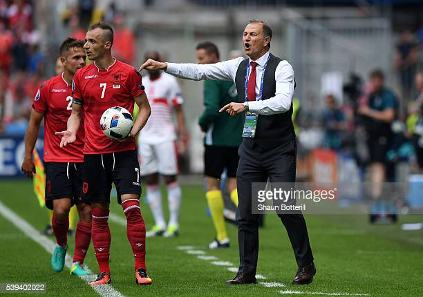 Gianni De Biasi coach of Albania instructs his players during the UEFA EURO 2016 Group A match between Albania and Switzerland at Stade...