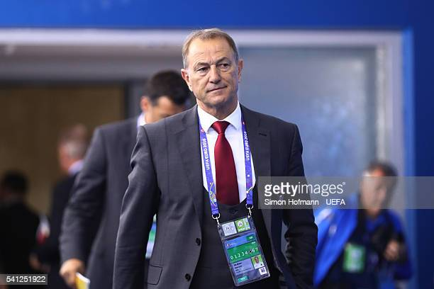 Gianni De Biasi coach of Albania is seen on arrival at the stadium prior to the UEFA EURO 2016 Group A match between Romania and Albania at Stade des...