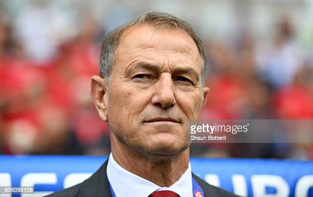 Gianni De Biasi coach of Albania looks on prior to the UEFA EURO 2016 Group A match between Albania and Switzerland at Stade BollaertDelelis on June...