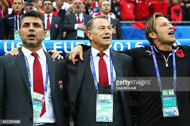 Gianni De Biasi coach of Albania looks on prior to the UEFA EURO 2016 Group A match between Romania and Albania at Stade des Lumieres on June 19 2016...