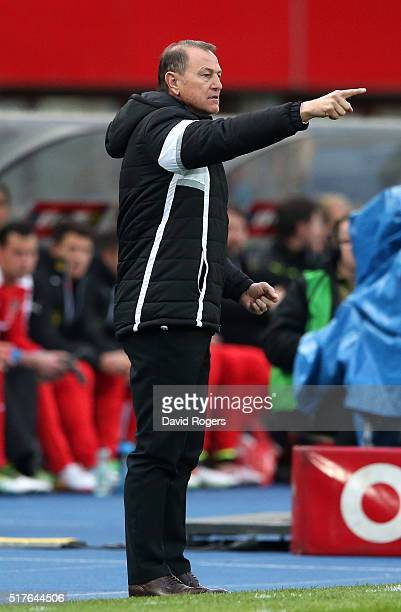 Gianni de Biasi the Albania manager issues instructions during the international friendly match between Austria and Albania at the ErnstHappelStadion...