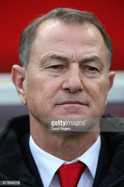 Gianni de Biasi the Albania manager looks on during the international friendly match between Austria and Albania at the ErnstHappelStadion on March...