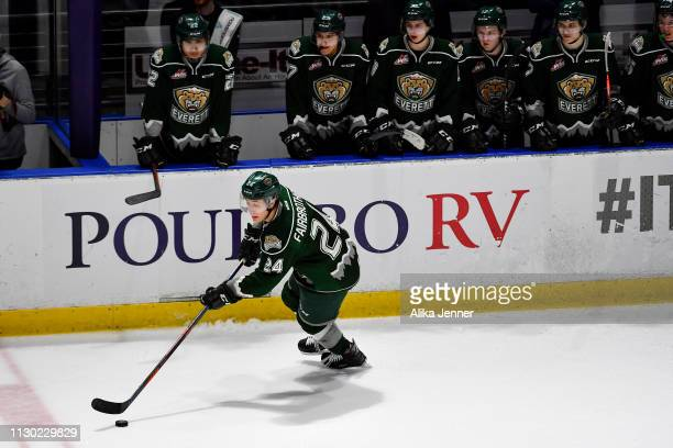 Gianni Fairbrother of the Everett Silvertips skates down the ice in front of his bench at accesso ShoWare Center on February 16 2019 in Kent...