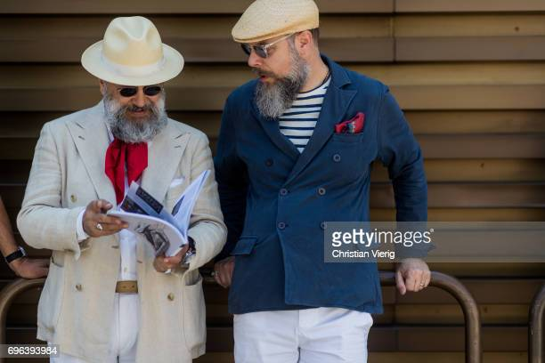 Gianni Fontana wearing a red scarf beige hat is seen during Pitti Immagine Uomo 92 at Fortezza Da Basso on June 15 2017 in Florence Italy