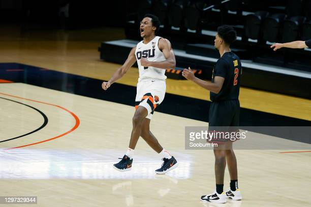 Gianni Hunt of the Oregon State Beavers celebrates after the 58-56 win over the USC Trojans at Gill Coliseum on January 19, 2021 in Corvallis, Oregon.