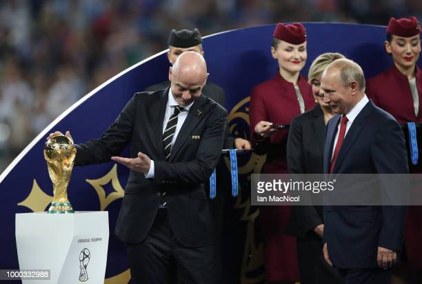 Gianni Infantino and Vladimir Putin are seen during the 2018 FIFA World Cup Russia Final between France and Croatia at Luzhniki Stadium on July 15...