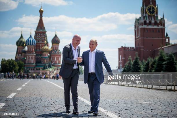 Gianni Infantino and Vladimir Putin meet at Red Square on June 28 2018 in Moscow Russia