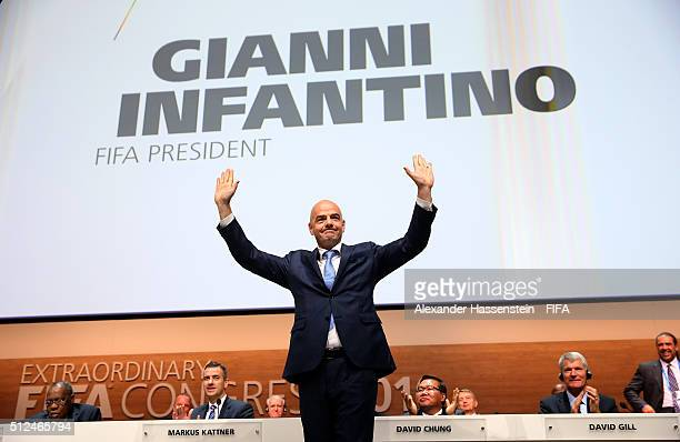 Gianni Infantino celebrates after being elected as the new FIFA President during the Extraordinary FIFA Congress at Hallenstadion on February 26,...