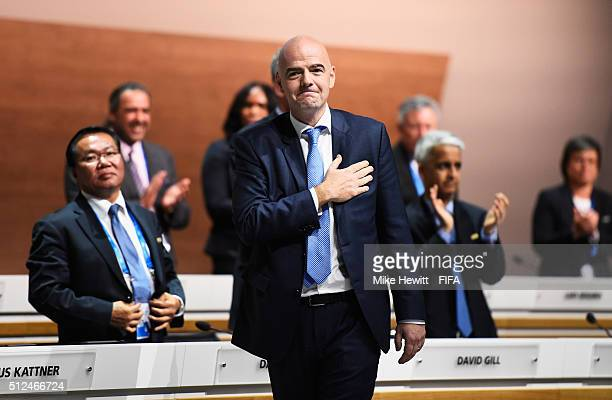 Gianni Infantino celebrates after being elected as the new FIFA President during the Extraordinary FIFA Congress at Hallenstadion on February 26 2016...