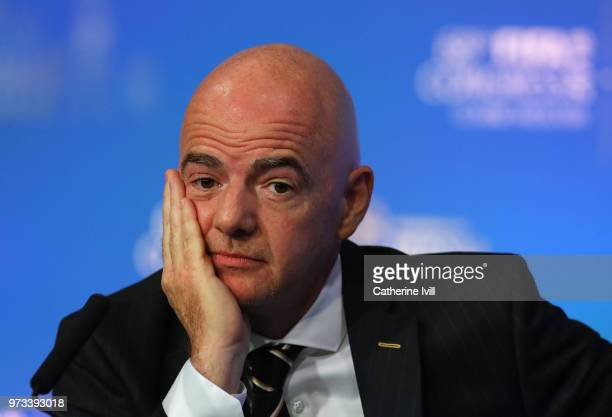 Gianni Infantino FIFA President speaks during the 68th FIFA Congress at Moscow's Expocentre on June 13 2018 in Moscow Russia