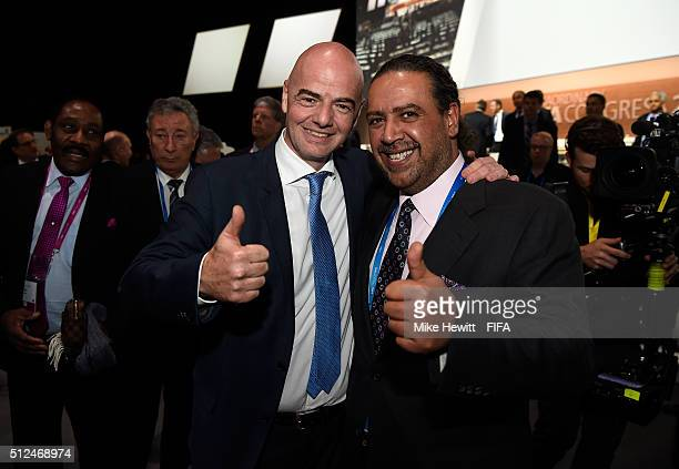 Gianni Infantino poses with FIFA Executive Committee member Sheikh Ahmad Al Fahad Al Sabah after being elected as the new FIFA President during the...