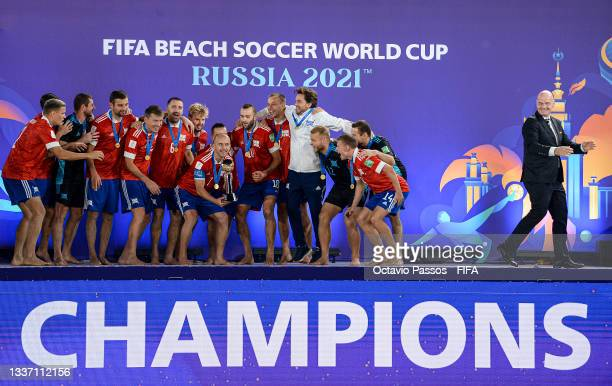 Gianni Infantino, President of FIFA after presents Anton Shkarin of Football Union of Russia with The FIFA Beach Soccer World Cup Winner's Trophy...