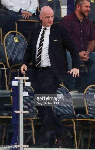 Gianni Infantino, President of FIFA is seen prior to the FIFA Beach Soccer World Cup 2021 3rd Place match between Switzerland and Senegal at Luzhniki...