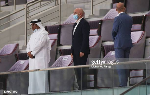 Gianni Infantino, President of FIFA looks on prior to the 2022 FIFA World Cup Qualifier match between Australia and China PR at Khalifa International...