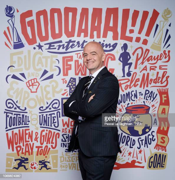 Gianni Infantino president of FIFA poses for a portrait during the FIFA Women's World Cup France 2019 Draw at La Seine Musicale on December 8 2018 in...