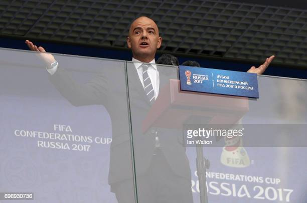 Gianni Infantino President of FIFA speaks to the stadium prior to the FIFA Confederations Cup Russia 2017 Group A match between Russia and New...