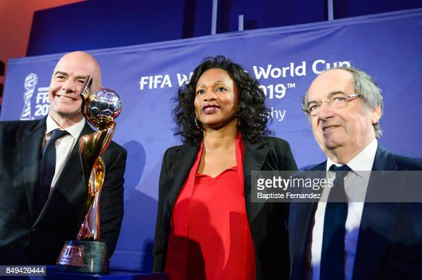 Gianni Infantino president of the FIFA Laura Flessel French Sport Minister and Noel Le Graet president of the French Football Federation with the...