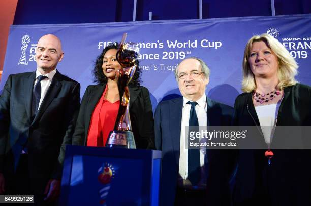 Gianni Infantino president of the FIFA Laura Flessel French Sport Minister Noel Le Graet president of the French Football Federation and Brigitte...