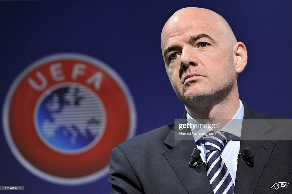Gianni Infantino, UEFA General Secretary, looks on during the UEFA Champions League Q1 qualifying round draw at the UEFA headquarters on June 24, 2013 in Nyon, Switzerland.