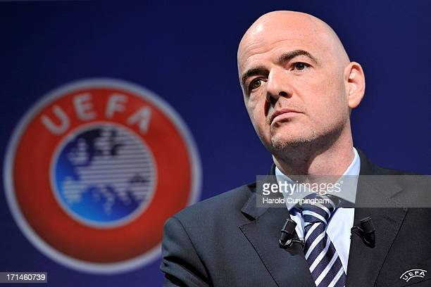 Gianni Infantino UEFA General Secretary looks on during the UEFA Champions League Q1 qualifying round draw at the UEFA headquarters on June 24 2013...